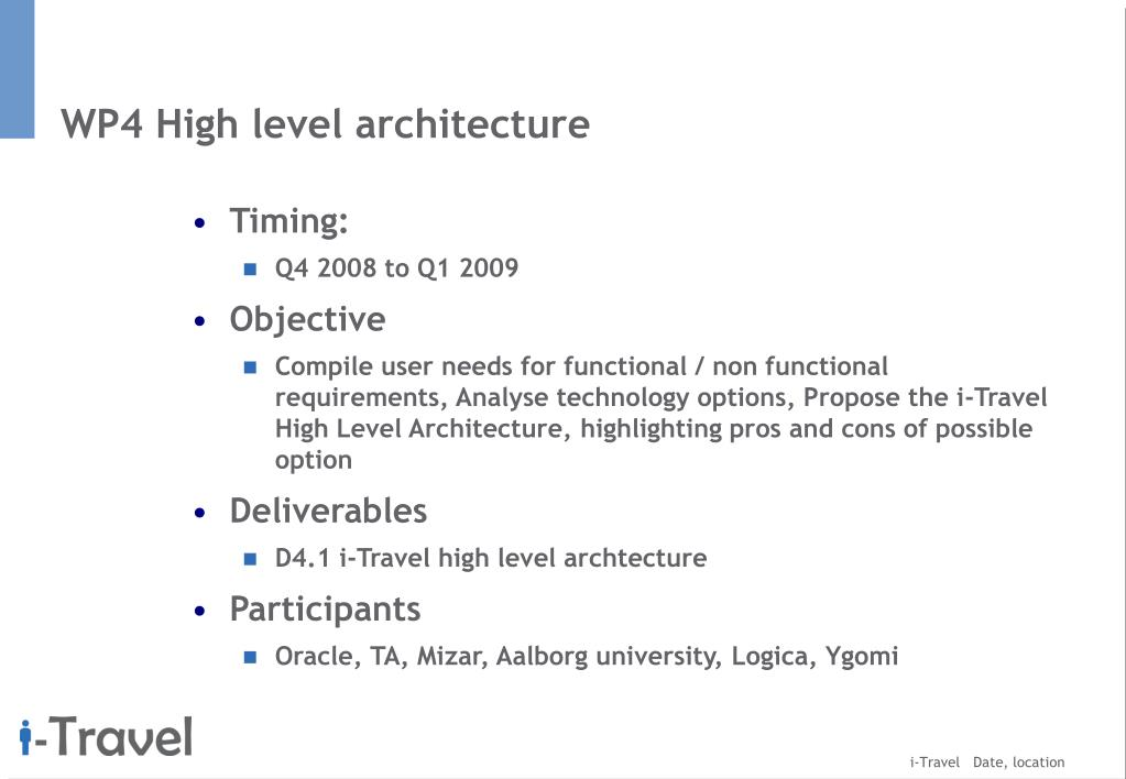 WP4 High level architecture