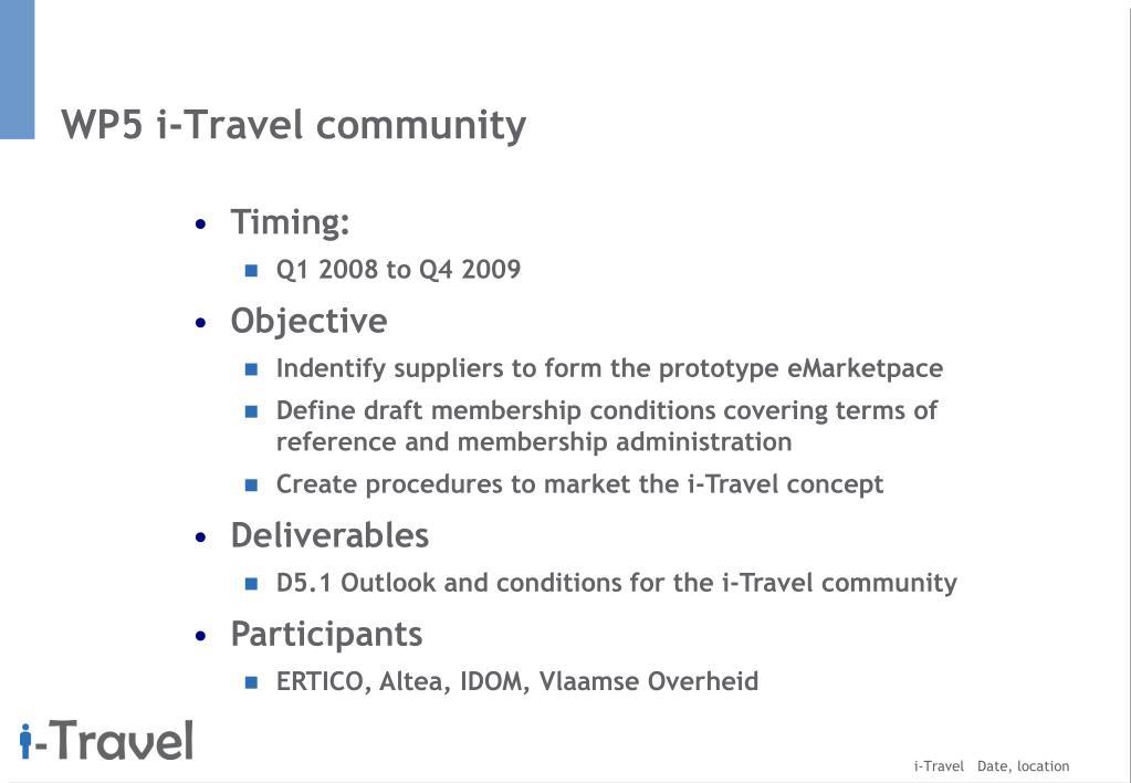 WP5 i-Travel community
