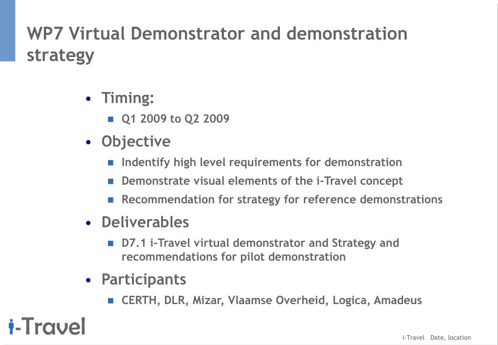 WP7 Virtual Demonstrator and demonstration strategy
