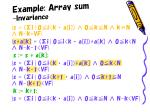 example array sum invariance