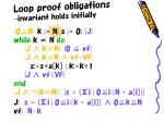 loop proof obligations invariant holds initially