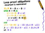 loop proof obligations invariant is maintained
