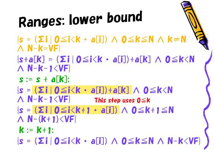 Ranges: lower bound