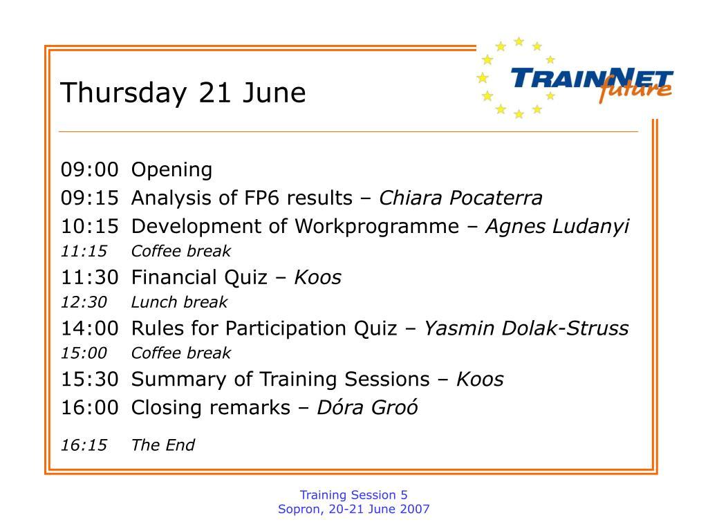 Thursday 21 June