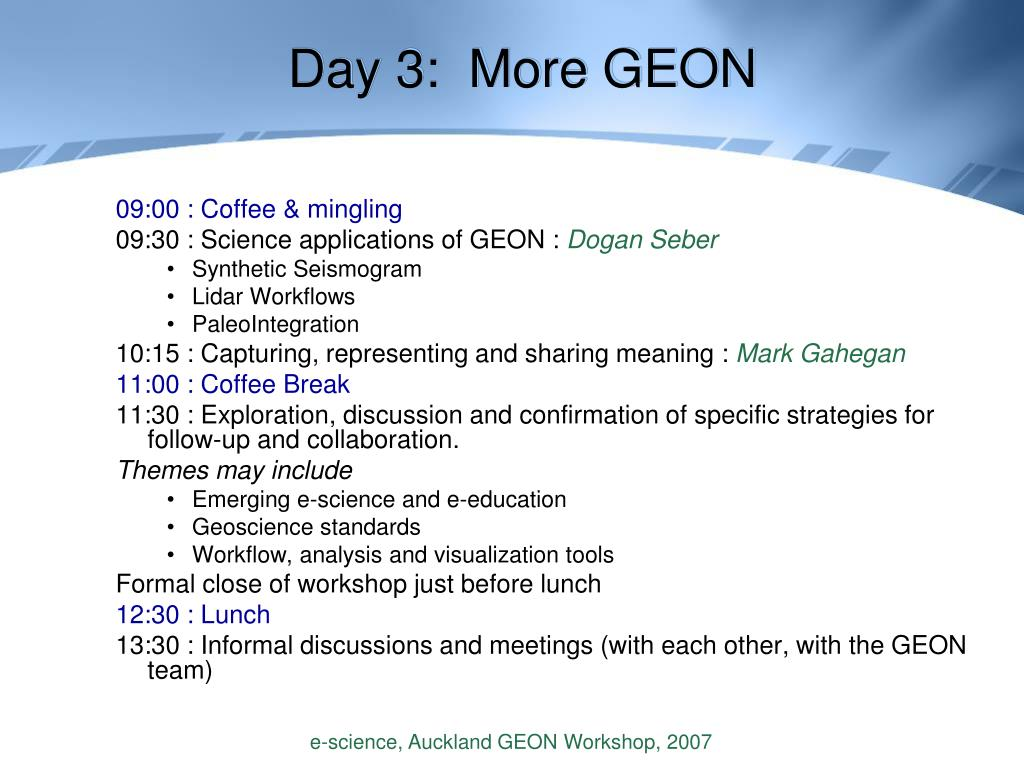 Day 3:  More GEON