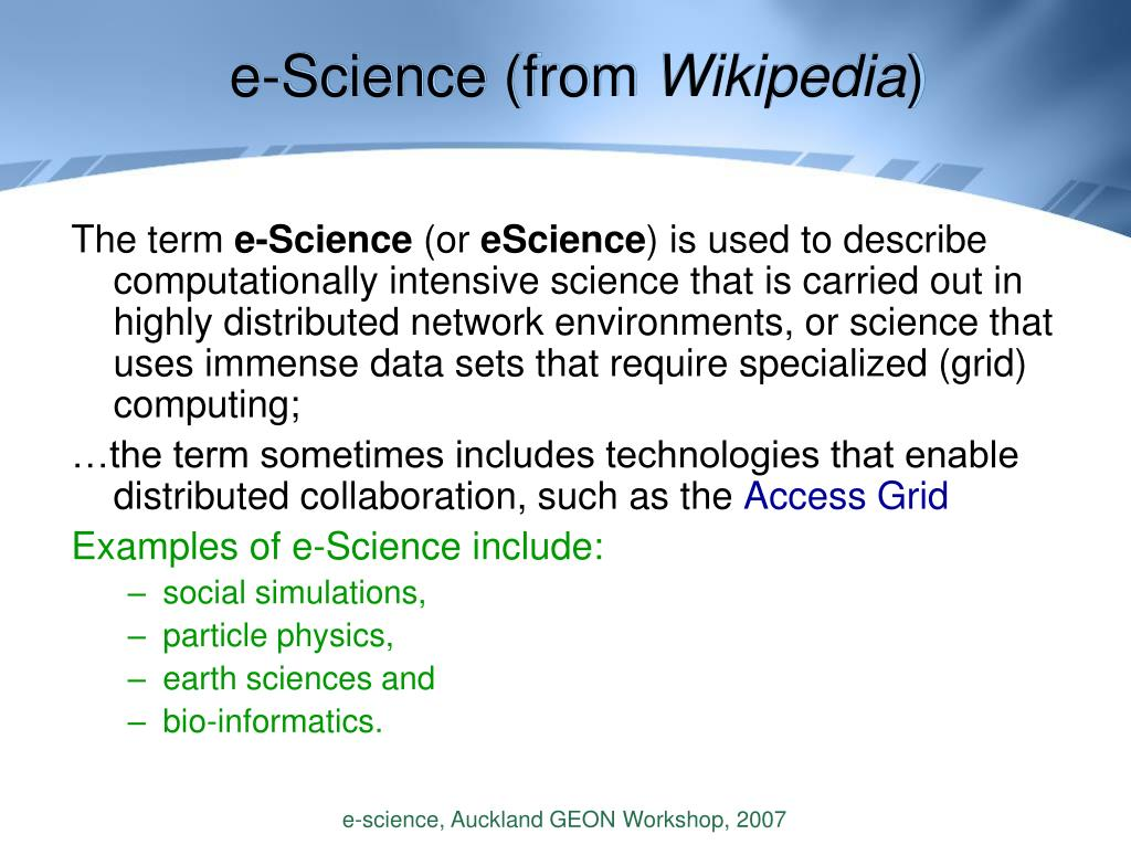 e-Science (from