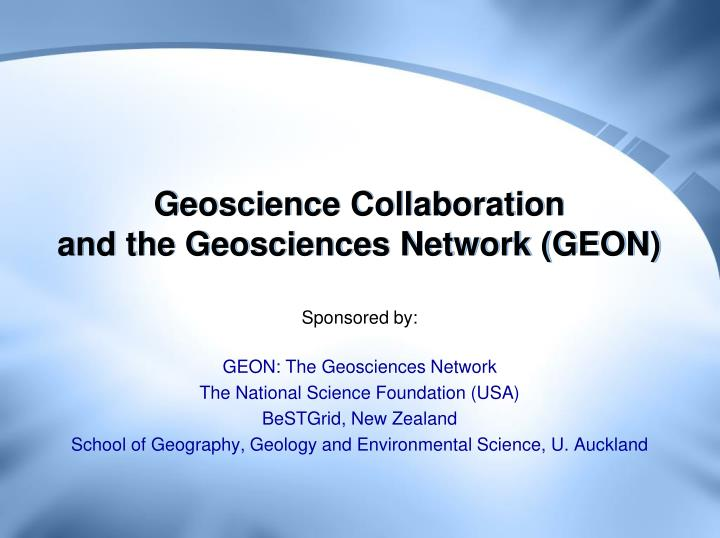 Geoscience collaboration and the geosciences network geon