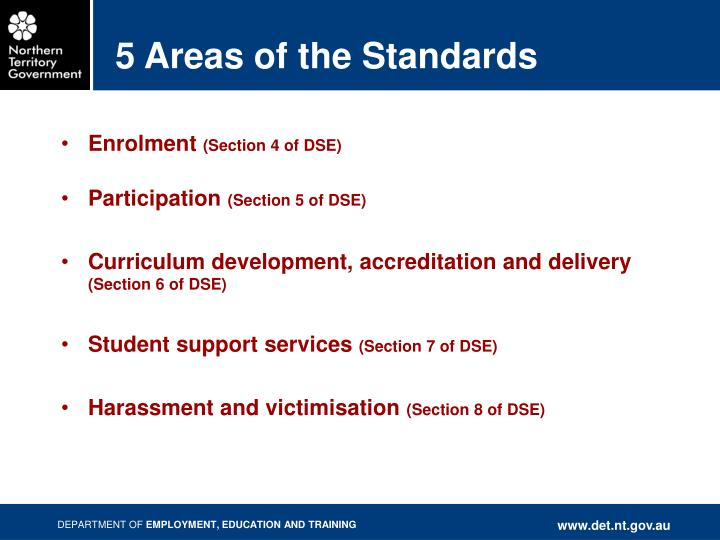 5 Areas of the Standards