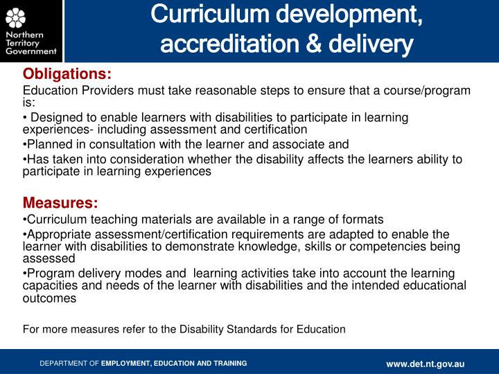 Curriculum development, accreditation & delivery