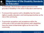 objectives of the disability standards for education