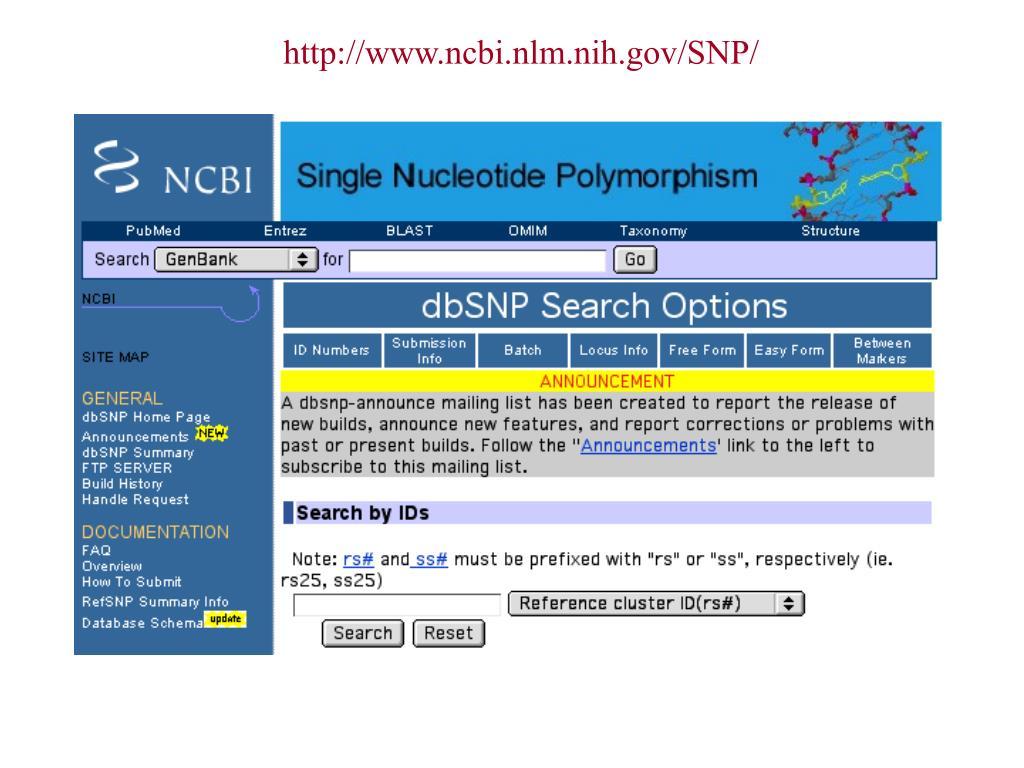 http://www.ncbi.nlm.nih.gov/SNP/
