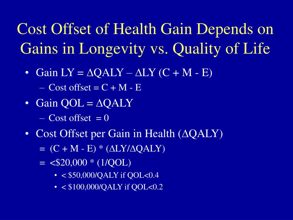 Cost Offset of Health Gain Depends on Gains in Longevity vs. Quality of Life