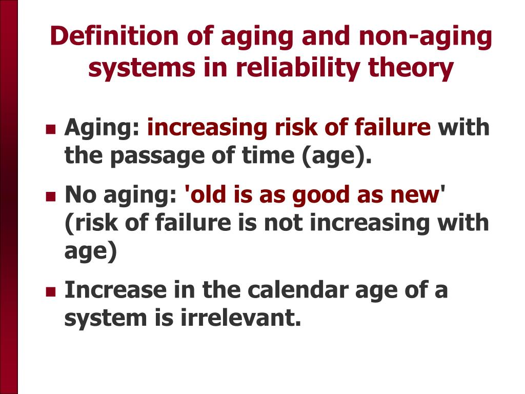 Definition of aging and non-aging systems in reliability theory