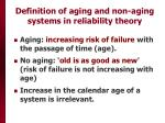 definition of aging and non aging systems in reliability theory