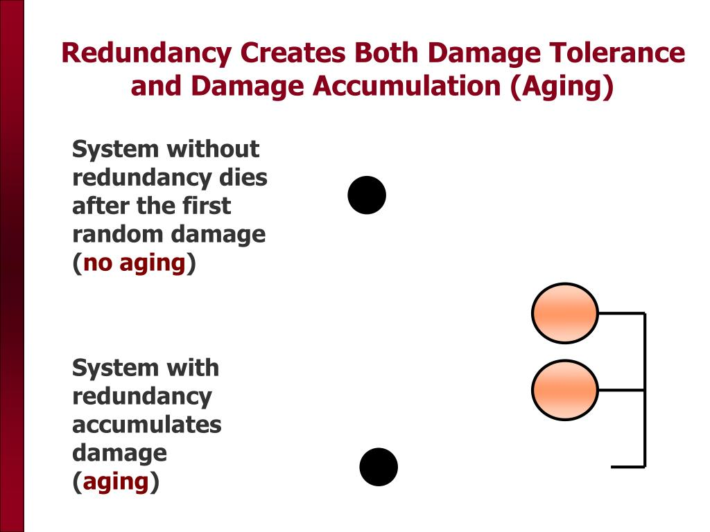 Redundancy Creates Both Damage Tolerance and Damage Accumulation (Aging)