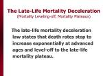 the late life mortality deceleration mortality leveling off mortality plateaus
