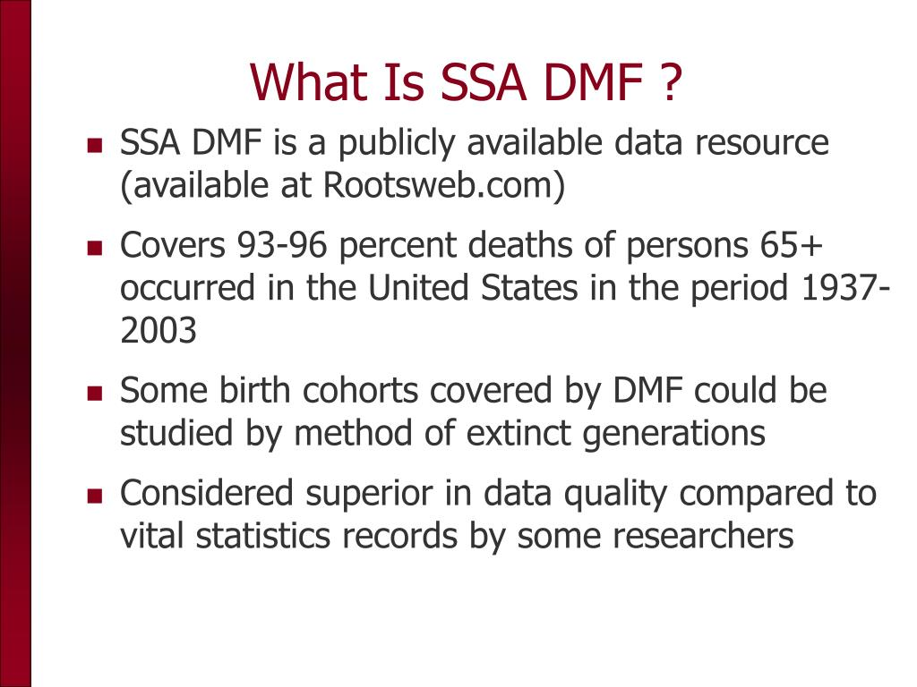 What Is SSA DMF ?