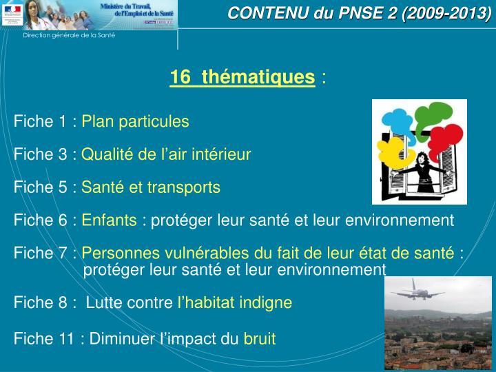 CONTENU du PNSE 2 (2009-2013)