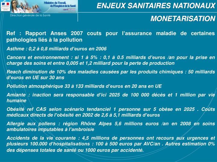 ENJEUX SANITAIRES NATIONAUX