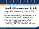 healthy life expectancy in u s