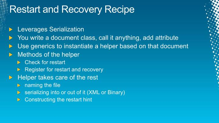 Restart and Recovery Recipe