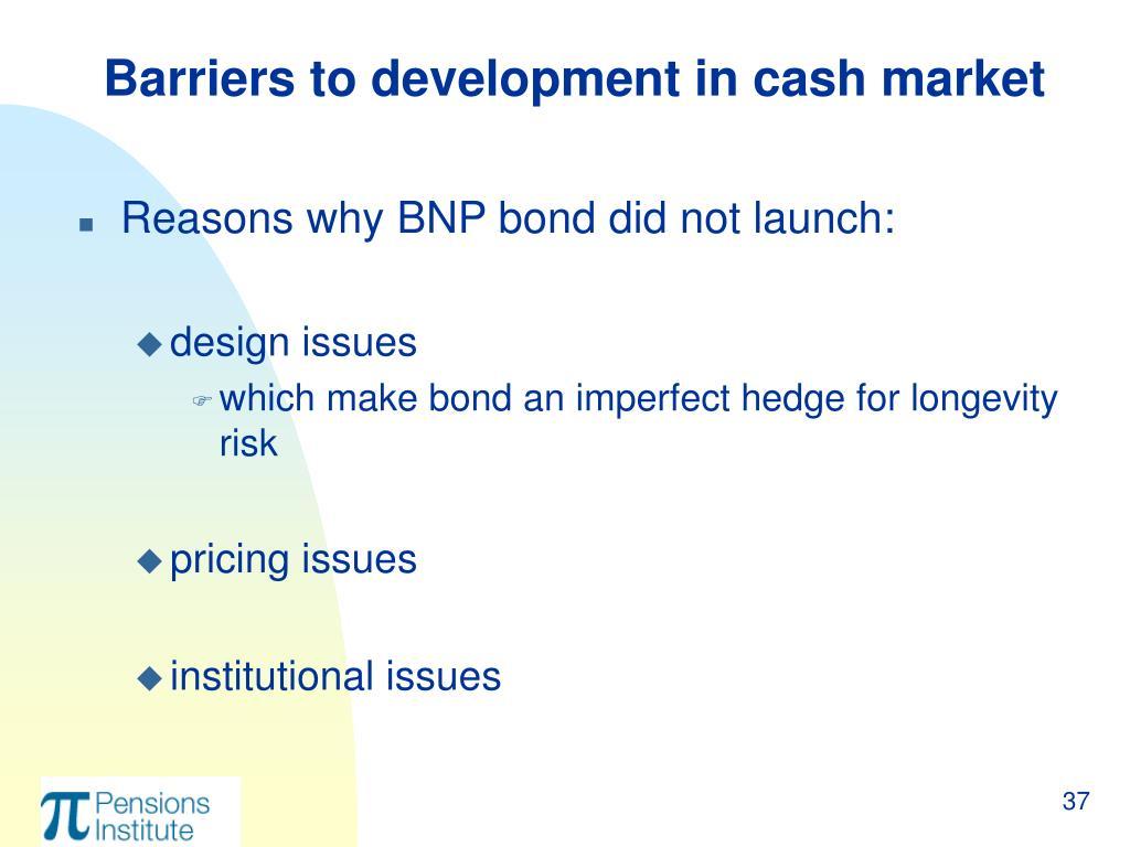 Barriers to development in cash market