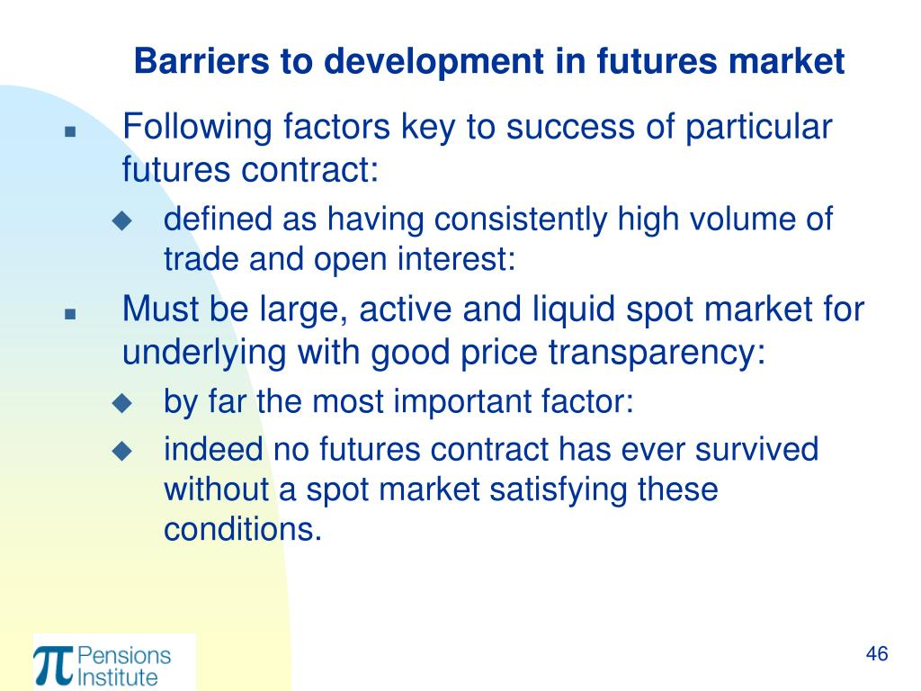 Barriers to development in futures market