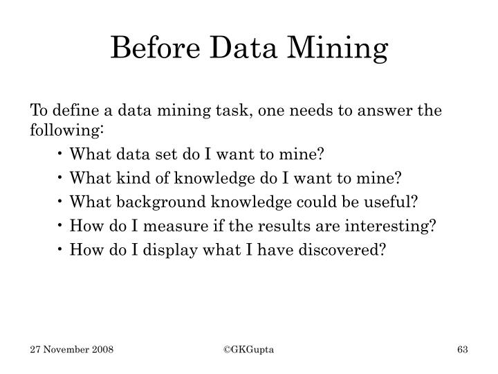 Before Data Mining