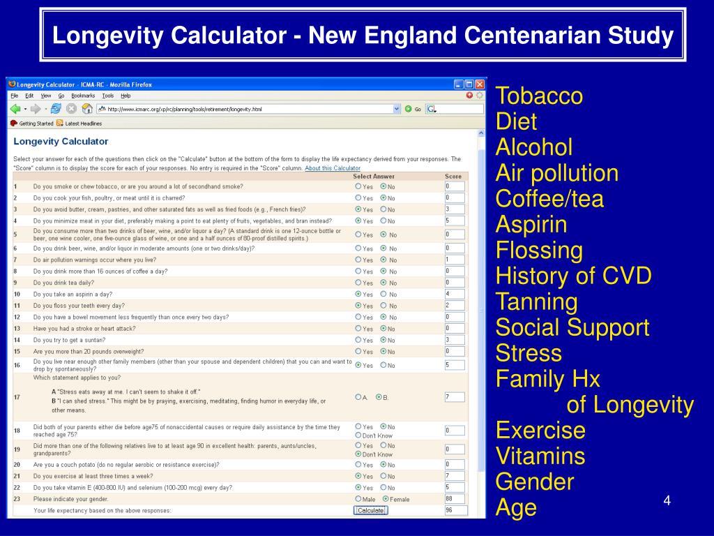 Longevity Calculator - New England Centenarian Study