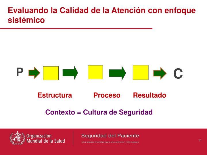 Evaluando la Calidad de la Atención con enfoque sistémico