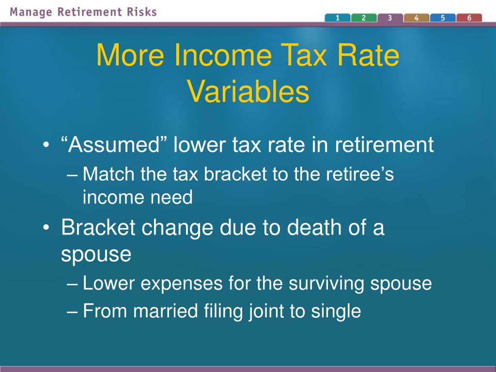 More Income Tax Rate Variables