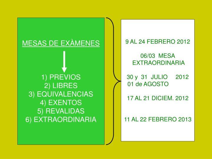 MESAS DE EXÀMENES
