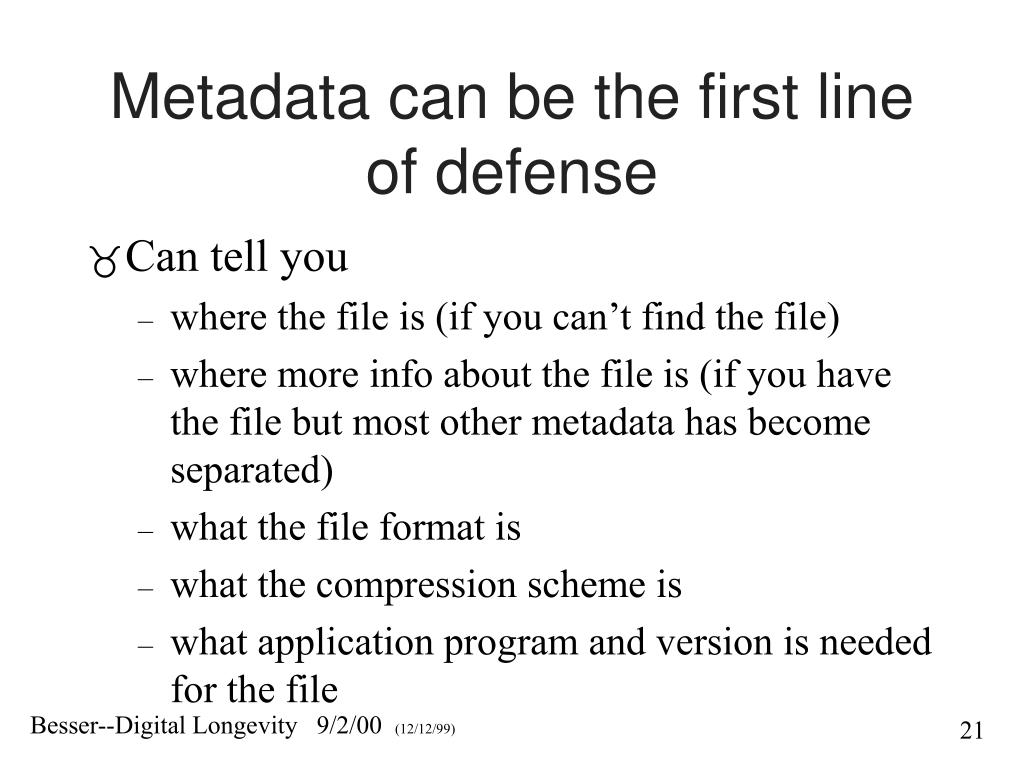 Metadata can be the first line of defense
