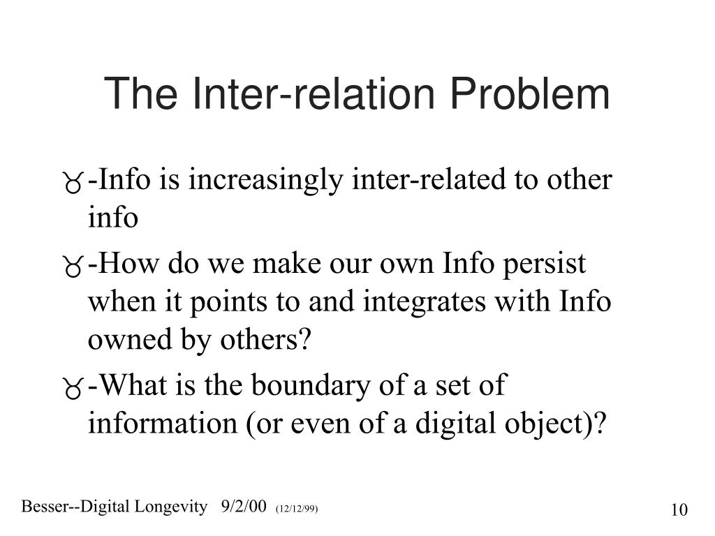 The Inter-relation Problem