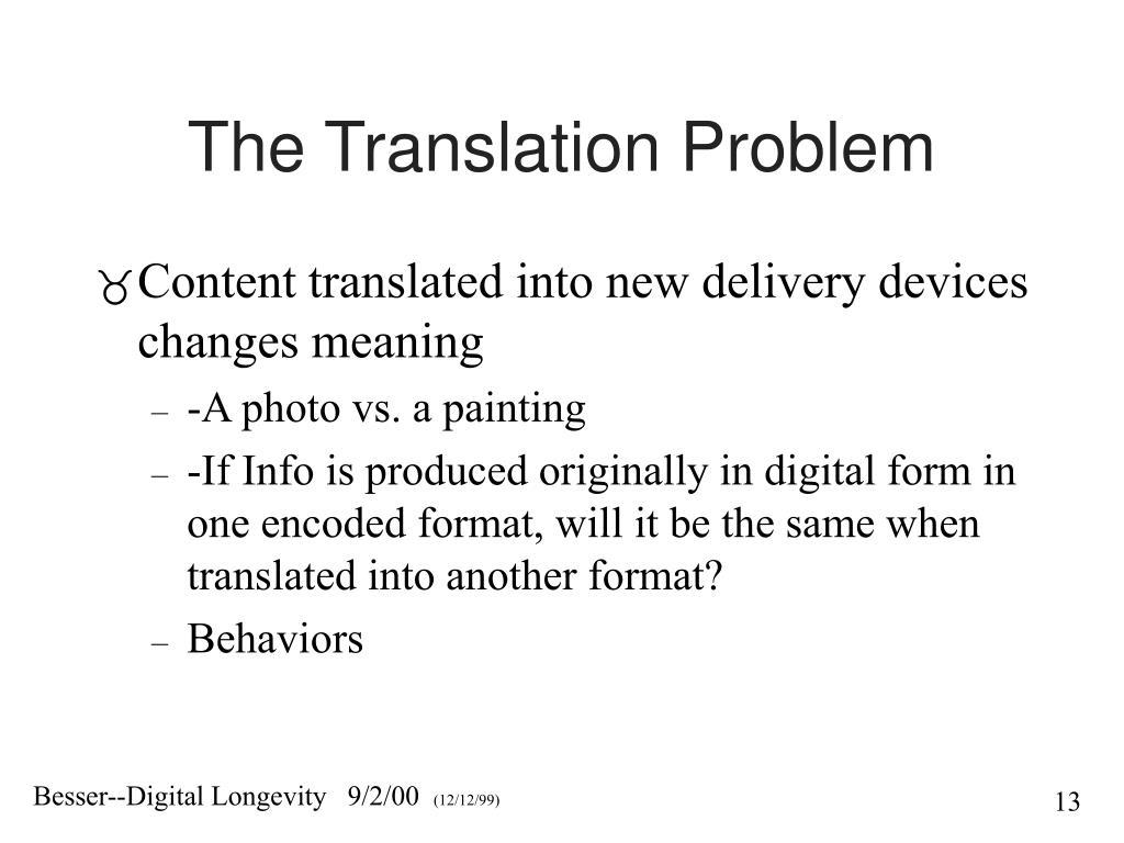 The Translation Problem