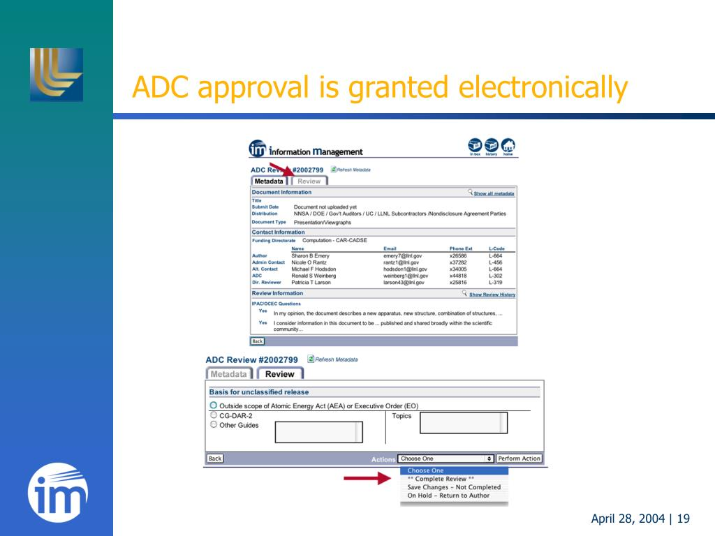 ADC approval is granted electronically