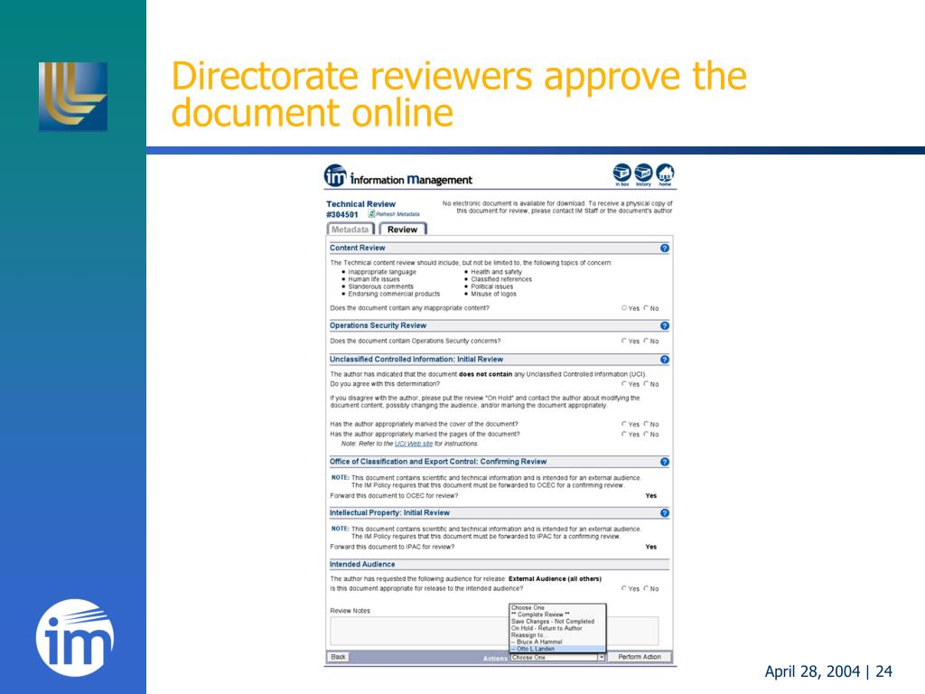 Directorate reviewers approve the