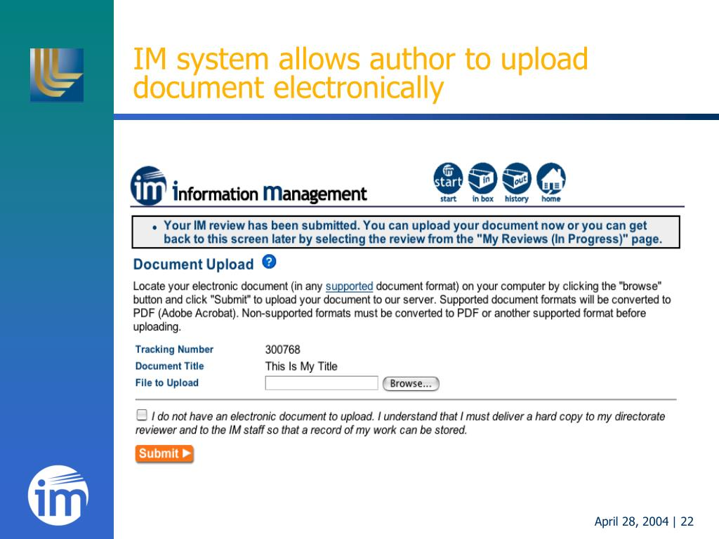 IM system allows author to upload document electronically