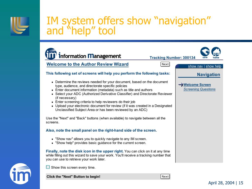 "IM system offers show ""navigation"""