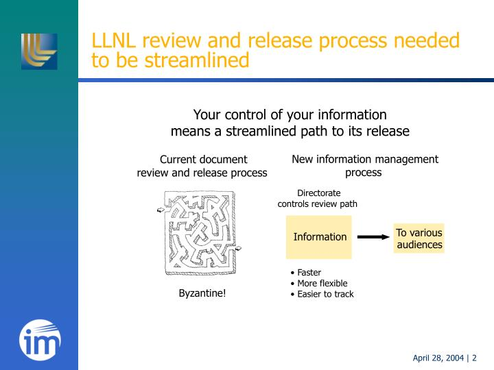 Llnl review and release process needed to be streamlined