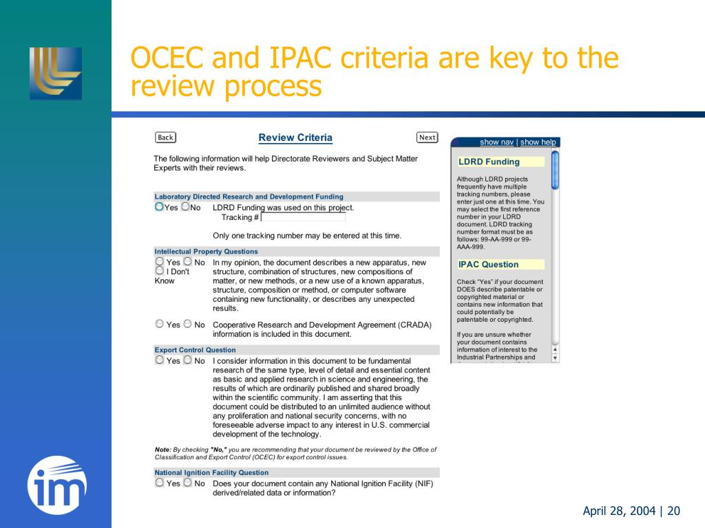 OCEC and IPAC criteria are key to the review process