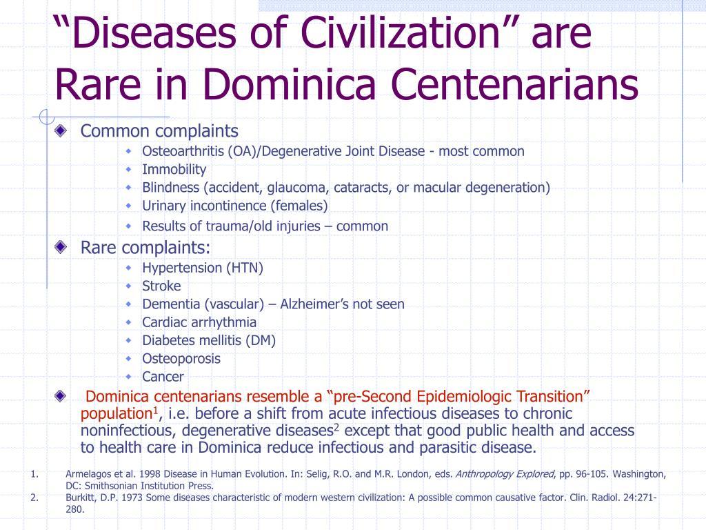 """Diseases of Civilization"" are Rare in Dominica Centenarians"