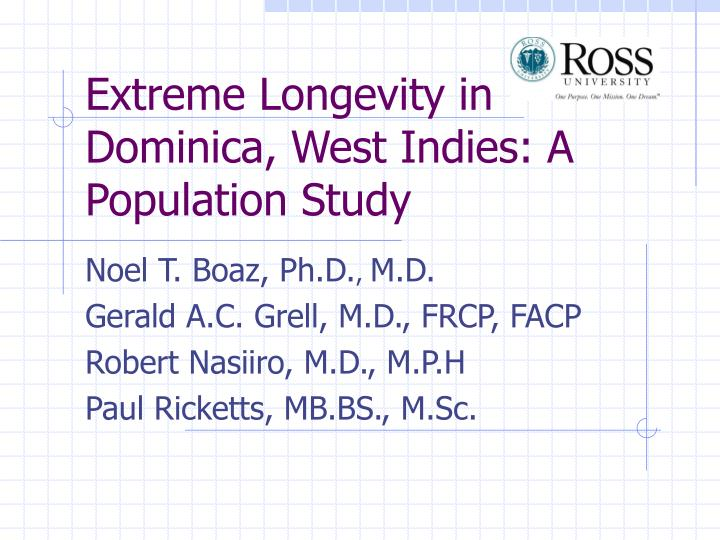 Extreme longevity in dominica west indies a population study
