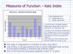 measures of function katz index