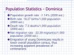 population statistics dominica