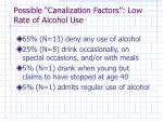 possible canalization factors low rate of alcohol use