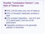 possible canalization factors low rate of tobacco use