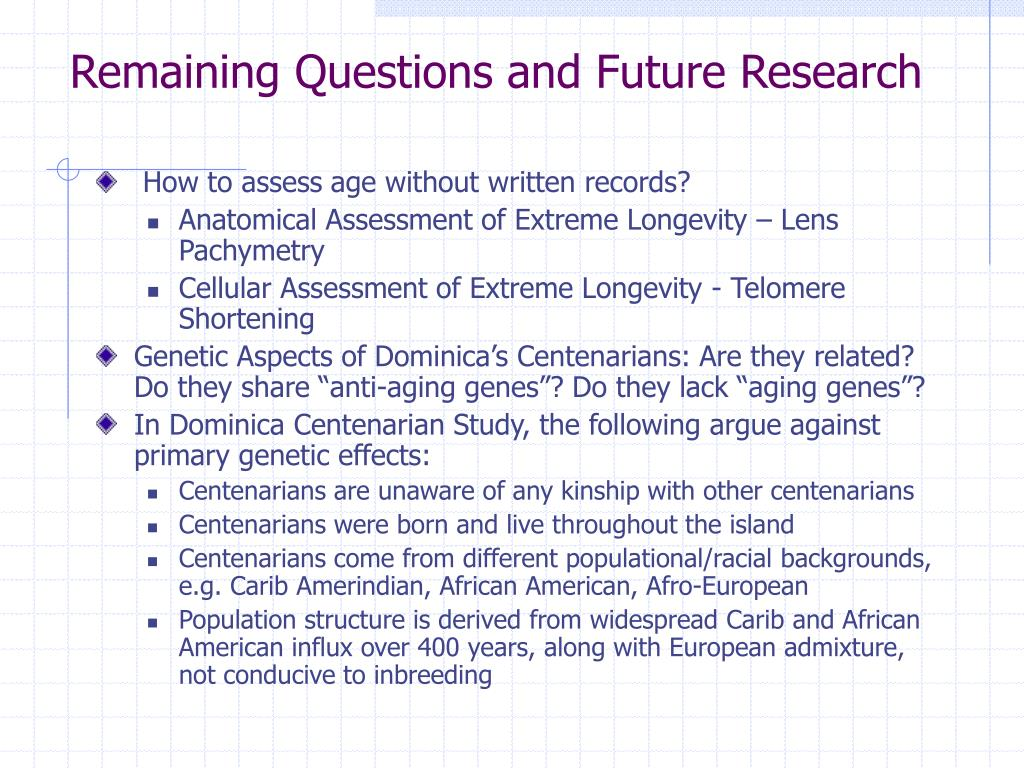 Remaining Questions and Future Research
