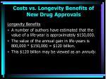costs vs longevity benefits of new drug approvals50