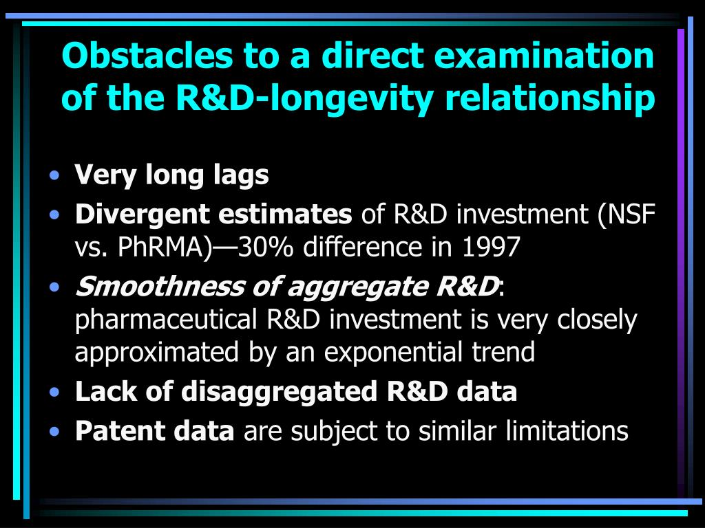 Obstacles to a direct examination of the R&D-longevity relationship